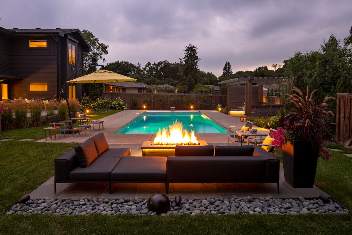 Backyard Oasis fire table designed by LIVIT Site + Structure