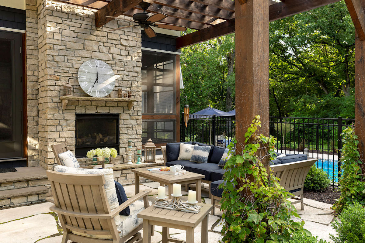Hamptons Charm pergola and fireplace