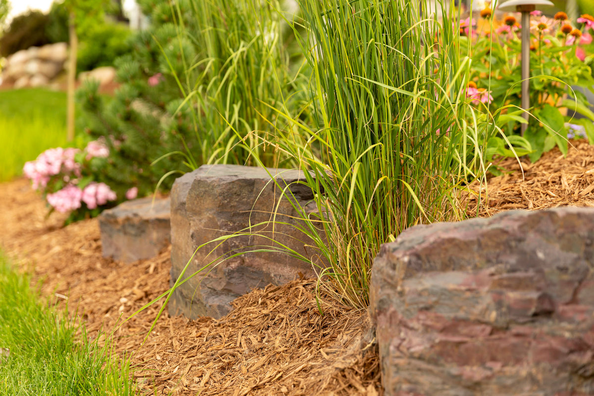 Small But Mighty outdoor plantings and rock outcropping